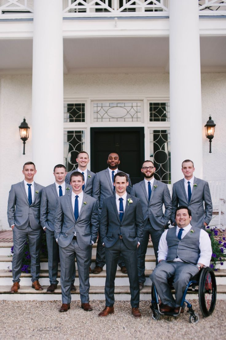 Grey suits, blue ties, handsome groomsmen // Bethany Snyder Photography