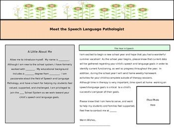 This product is a template for a parent letter to be sent home the first week of school.  The template is outlined for a speech pathologist introduction and outline of yearly expectations.