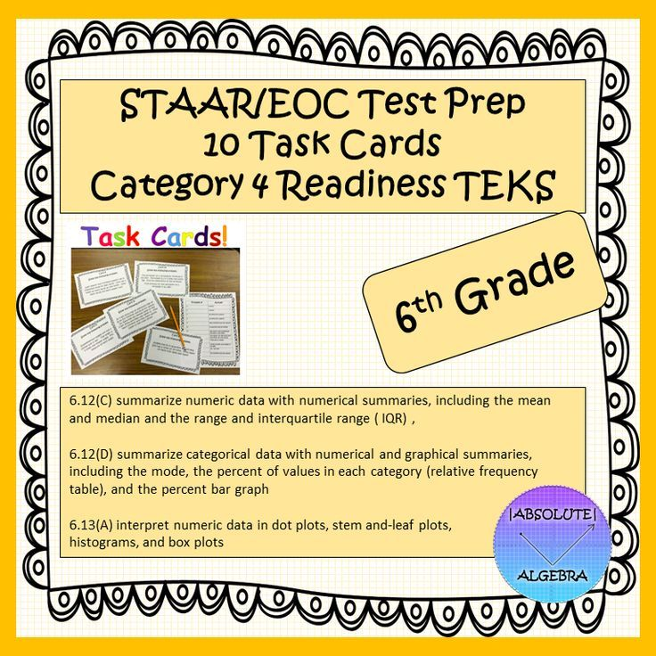 Help your students pass the STAAR with aligned task cards. This product has 10 task cards with the following Category 4 READINESS TEKS:  6.12C, 6.12D, and 6.13A.  Answer Key and Student Recording sheet Included.  Task Cards can be used for…  Test Prep Spiraling Exit Tickets Games Small Groups Cooperative Learning Interactive Notebooks and more!
