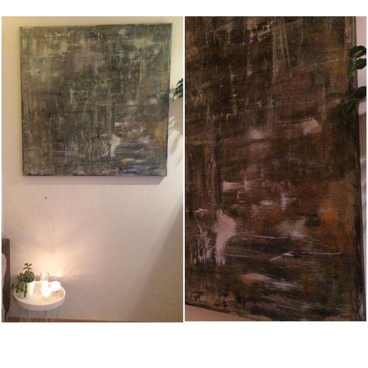 120x120 cm canvas on wood, hanging to dry #acrylicpainting #akrylmaling #abstract #abstractart #abstrakt #maling #bruntoggront #maleri #gjørdetselv #gjørselv #canvas #canvasart #lerret #diy #wallart #art #boligplussminstil #boligplusspersonlig