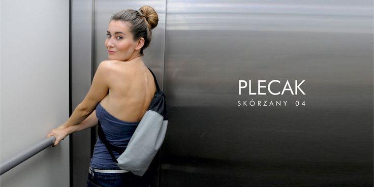 skórzany plecak worek szary, grafitowa część materiałowa 32 x 39 cm  http://puroldesign.pl/skorzany-worek-plecak-szary-designerskie-torebki #backpack #skorzanyplecak #worek #plecak