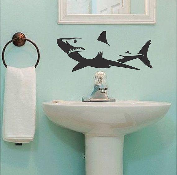 shark wall decal shark wall vinyl sea by trendywalldesigns on etsy - Wall Vinyl Designs