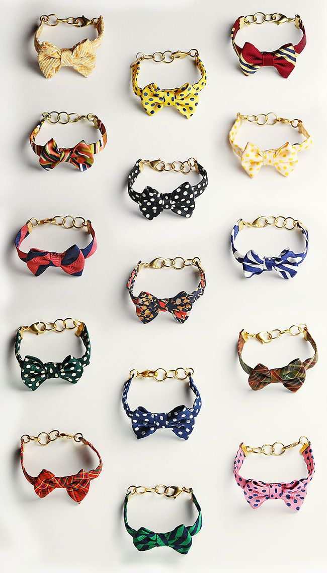 I love these bowtie bracelets designed by Sarah at Classy Girls Wear Pearls. Theyre not available for sale yet, but you can enter her giveway and be one of the first to wear one. Im lusting after the blue and white striped one or black and white polka dots. Too cute.