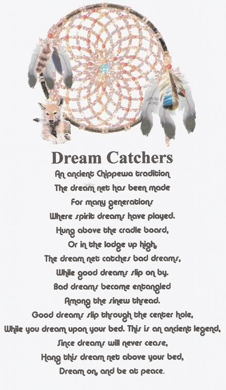 Dreamcatchers - Not just Chippewa but Cherokee and other tribes created their own.  To be a protective charm to the young.