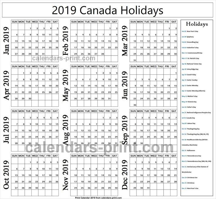 2019 stat holidays canada