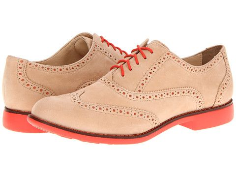 Cole Haan Gramercy Oxford Women's Lace Up Wing Tip Shoes - Sandstone  Nubuck/Orange Pop