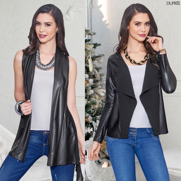 Chaleco y chaqueta en cuero con jean. Outfit Mujer Dupree