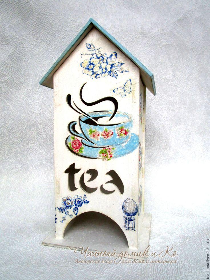 """Купить чайный домик """"Гжелевая фантазия"""" - голубой, чайный домик, чайный домик декупаж"""