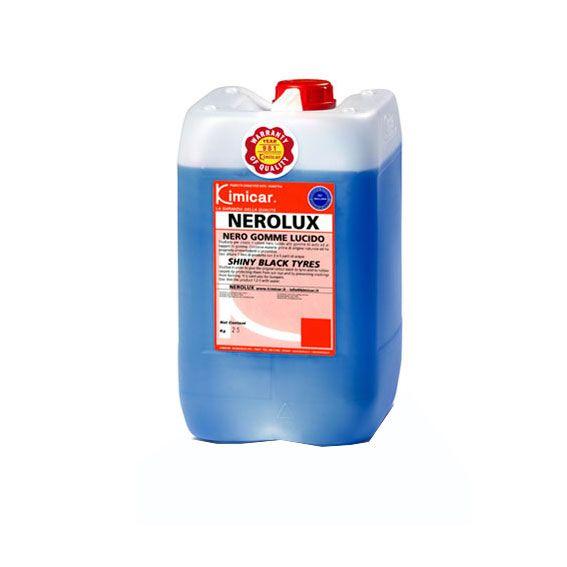 NEROLUX NERO GOMME 25 KG. Studiato per ridare il colore lucido ai pneumatici, proteggendoli inoltre dai raggi solari ed evitando screpolature.  Contiene materie prime di origine naturale con proprietà ammorbidenti.  Ha potere adesivo sulla gomma. TANICA 25 KG.
