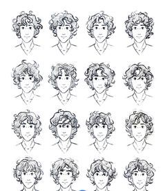 These are some examples of guys with curly hair if you want to learn how to draw some