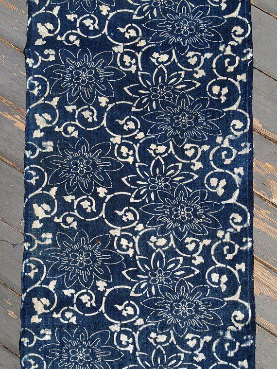 Vintage Japanese katazome indigo cotton Lotus Arabesque
