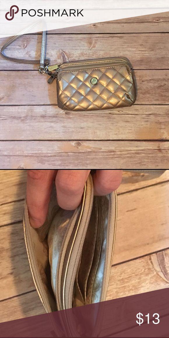 Grace Adele Wristlet NWOT wristlet. Gold/champagne color. Detachable strap. Grace Adele Bags Clutches & Wristlets