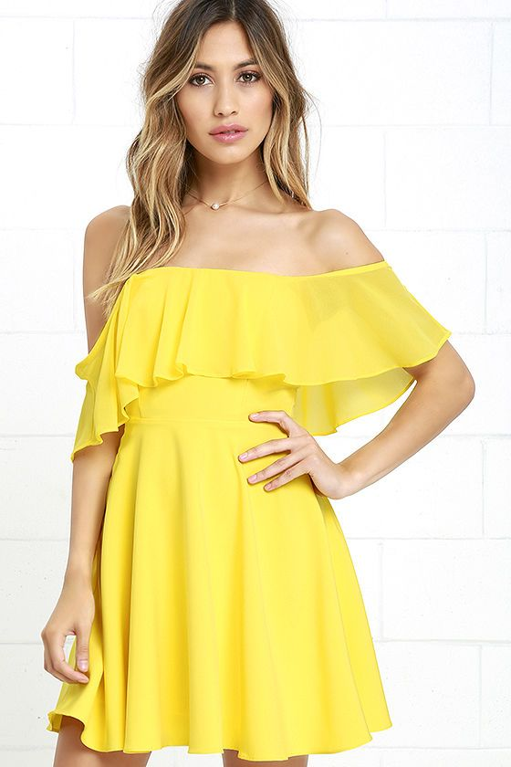 Lulus Exclusive! Be one with the butterflies in the Flutter On By Yellow Off-the-Shoulder Skater Dress! Sheer Georgette ruffles along a woven, off-the-shoulder bodice with princess seams, no-slip strips, and hidden boning. Skater skirt flares to a perfect mini length. Hidden back zipper with clasp.