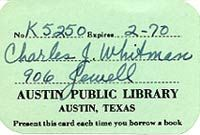 Charles Whitman Library Card