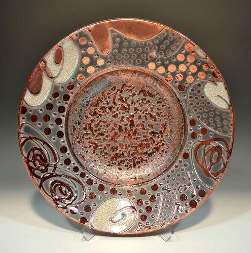 Fine Art  Raku Pottery Bowl w/ Ruby Red Glass  by John Turner