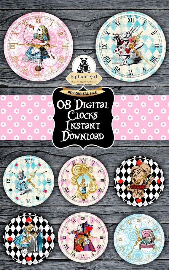 Alice in Wonderland Clocks  Printable Clocks  Vintage Alice