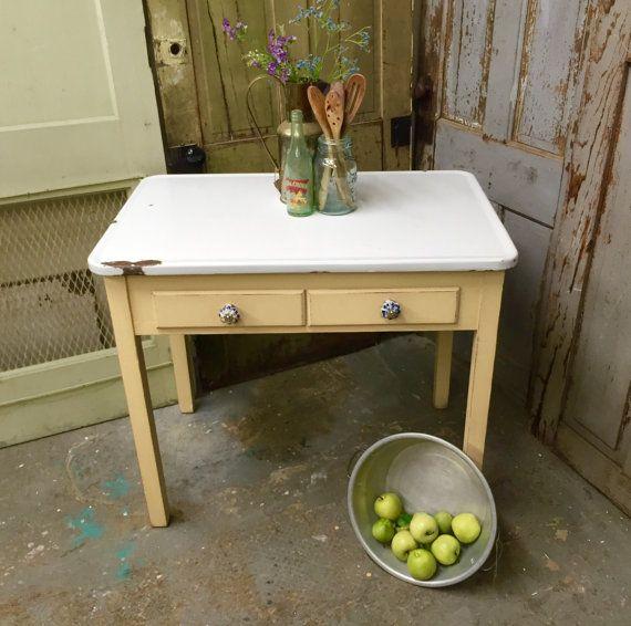 Yellow Enamel Top Table, Small Vintage Farmhouse Kitchen