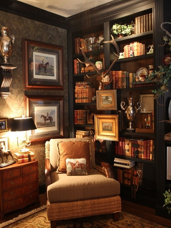 Reading corner I guess I should hang my paintings with frames on molding - looks great