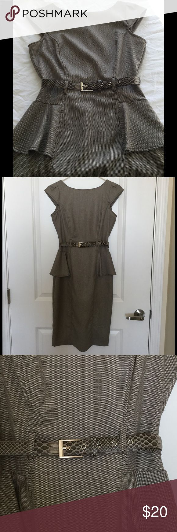 XOXO midi Dress with belt XOXO brown/tan peplum midi Dress. XOXO Dresses Midi