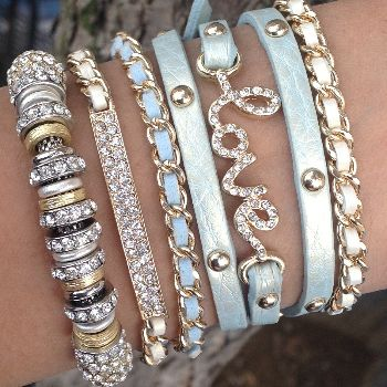 #Tons of styles of stacked bracelets. Icy Mint | Bracelet | ChichiMe