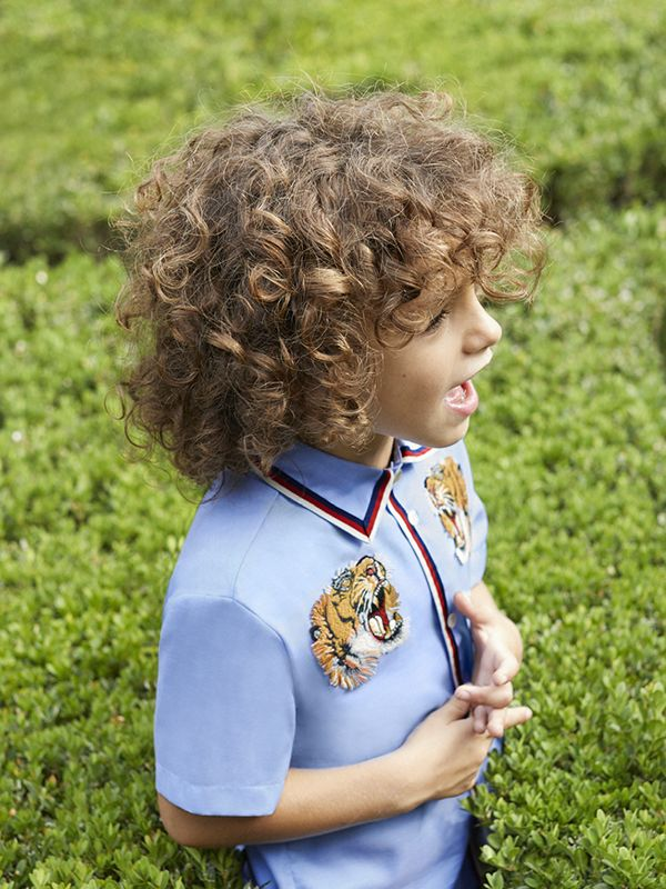 A look from the Gucci Children's Spring Summer 2017 collection.
