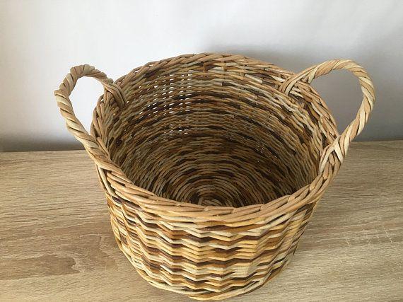 Round Woven Basket With Handle Vietnam Traditional Handmade Rattan Wicker Storage Basket Very Durab In 2020 Large Woven Basket Storage Baskets Wicker Baskets Storage