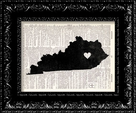BOGO I Heart Kentucky - State Map - Map Art Print Personalized - Vintage Dictionary Print - Book Print Page Art  Vintage Book Art