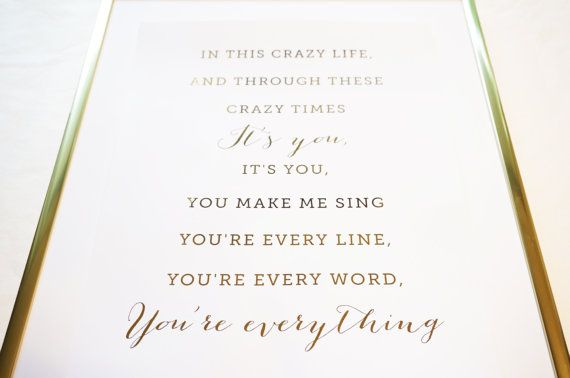 Everything Michael Buble Lyrics Gold Foil Print by TheGildedPage