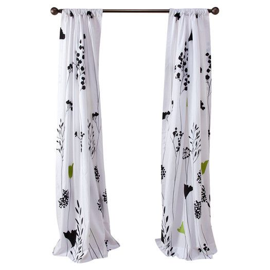 Asian Lily Cotton Lined Window Curtain Panels