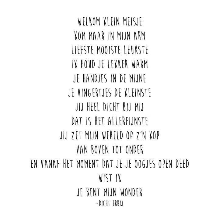 Gedicht voor geboorte meisje