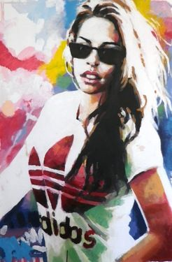 "Saatchi Online Artist: thomas saliot; Oil, 2013, Painting ""80's Adidas babe"""