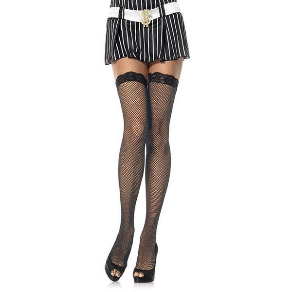 Leg Avenue Women's Black Lace-top Fishnet Stockings (One Size- Black) ($9.09) ❤ liked on Polyvore featuring intimates, hosiery, tights, black, leg avenue stockings, lacy stockings, leg avenue pantyhose, lace tights and fishnet pantyhose