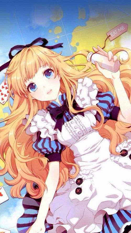 Alice --> earth; eat me; blonde; blue eyes; dress; cards