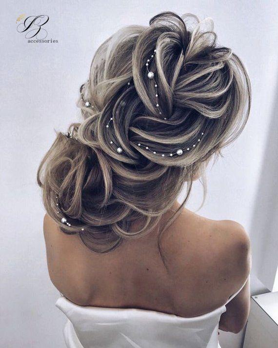 Simple Wedding Pearl Hair Vine White Ivory Bridal Pearl Hair Vine Rose gold Headpiece Headband Minim