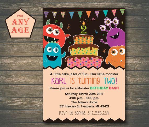 Monster Birthday Invitation Little Monster Boy by CutePaperStudio