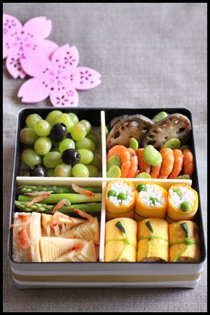 Spring Hanami Bento for Sakura Flower Viewing (From right bottom: Egg wrapped green peas rice ball, Simmered bamboo shoot and asparagus with sakura shrimp, Boiled prawn and lotus root, Grape)|お花見弁当