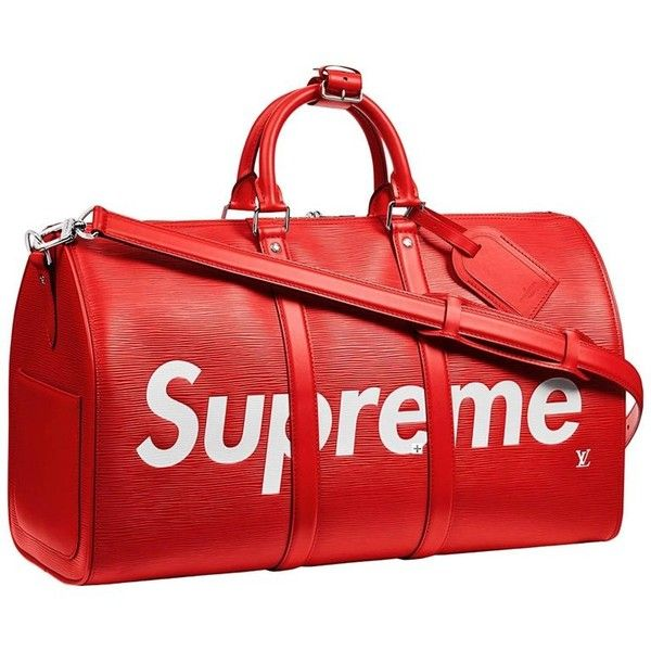 Louis Vuitton X Supreme Red Epi Keepall Bandouliere Duffle Bag 45 ($14,250) ❤ liked on Polyvore featuring bags, red duffel bag, duffel bag, louis vuitton, duffle bags and louis vuitton bags