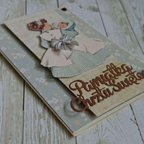 Karta ręcznie wykonana - pamiątka Chrztu