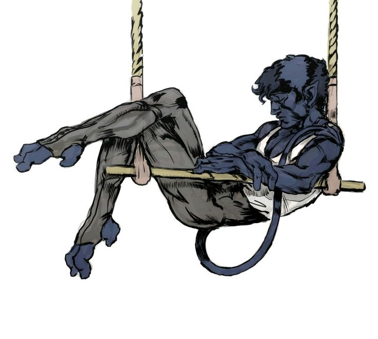 Teen Kurt Wagner napping on the trapeze by gyodragon @ tumblr #nightcrawler