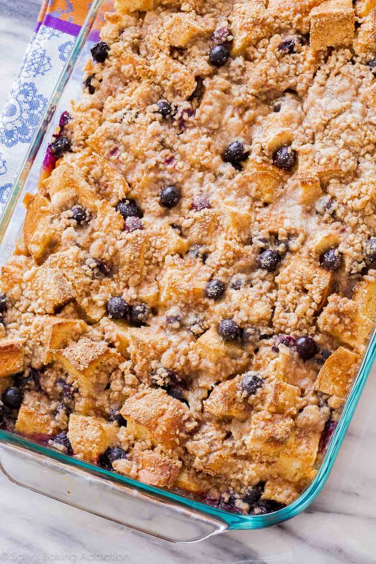 Unbelievable Blueberry French Toast Casserole! This is the perfect crowd-pleasing make ahead recipe for busy mornings. Recipe on sallysbakingaddiction.com