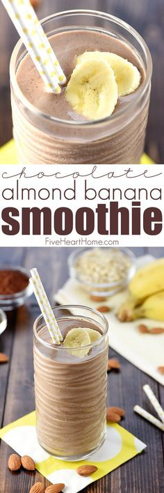 Chocolate Almond Banana Smoothie ~ a healthy, filling, decadent breakfast or snack, loaded with bananas, almond butter, Greek yogurt, oats, and chia seeds for a boost of protein, vitamins, calcium, and fiber! | FiveHeartHome.com