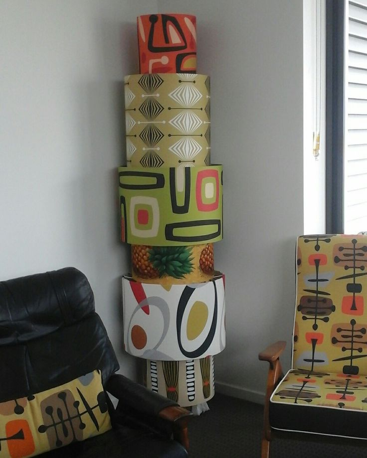 DESIGNER TOTEM Just moved into new apartment, what to do with a collection of #SocialFabric sample #lampshades ? Stack them like a totem pole and put a light in the bottom, what fun! All fabrics available @socialfabric.com.au #interiordesign #decor #midcenturymodern #retro #australianmade #brisbaneTextile #designer #LynneTanner