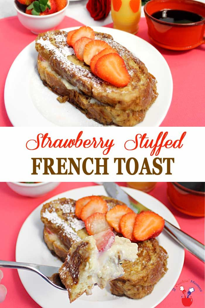 Strawberry Stuffed French Toast is a decadent treat. Traditional French Toast is stuffed with a sweet cream cheese filling then layered with fresh strawberries and browned to perfection. It's like having dessert for breakfast! #stuffedfrenchtoast #frenchtoast #strawberries #breakfast #specialbreakfast via @2CookinMamas