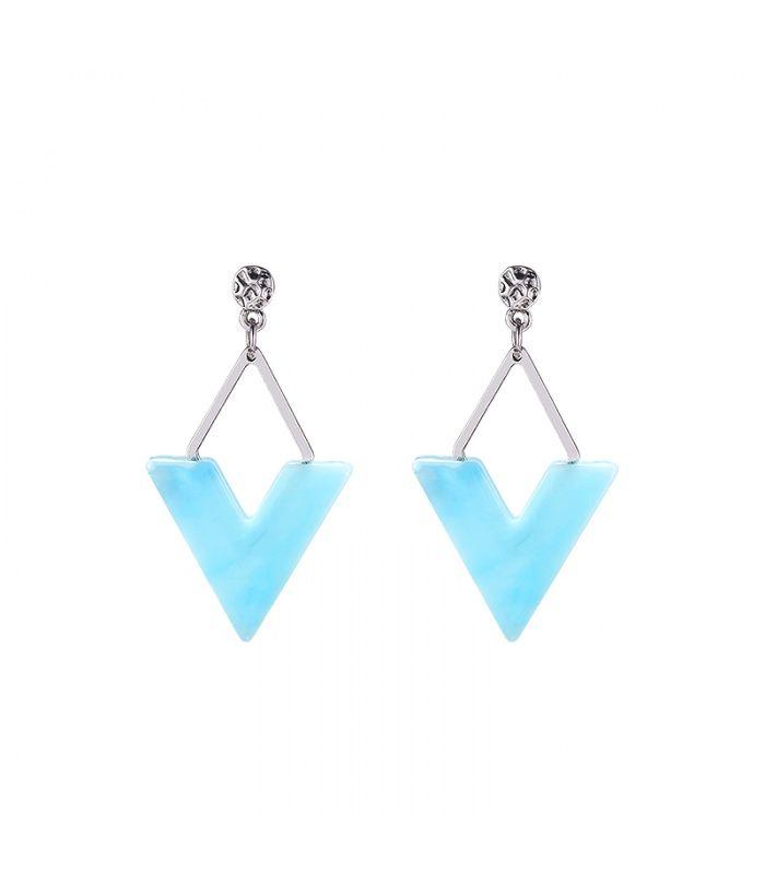 Blauwe oorbellen in de vorm van een driehoek|Trendy oorhangers koop je online | Yehwang fashion en sieraden