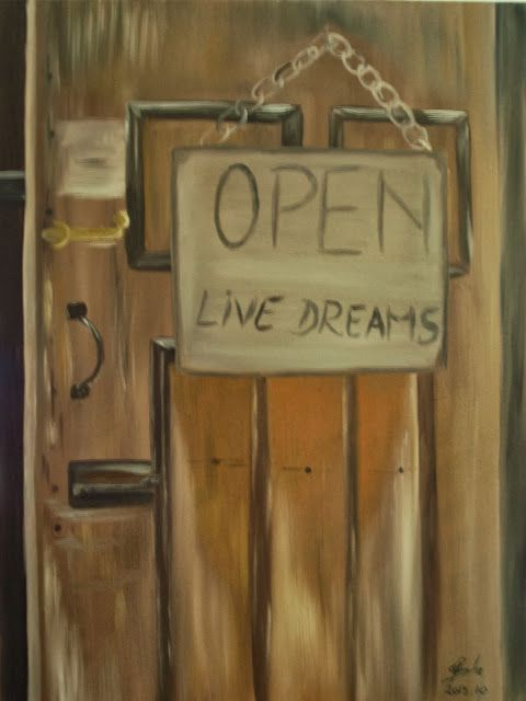 OPEN - oil on canvas (60x80 cm) - by Carmen Cristea You should open the doors from your path in order to follow your dream