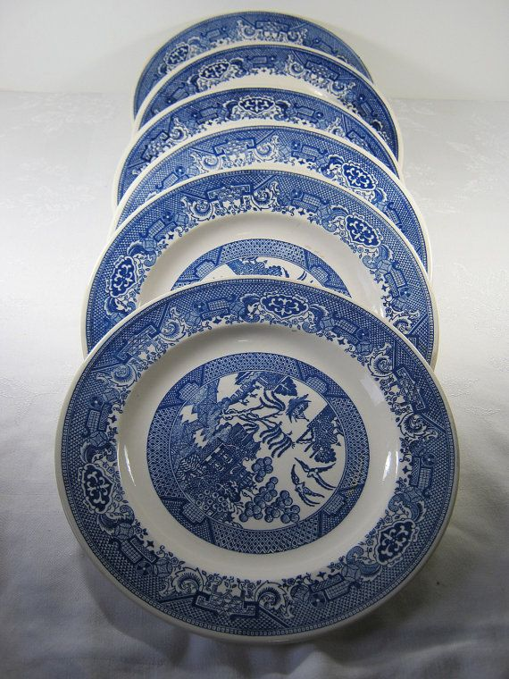 Vintage Blue Willow Plates Salad Royal China Ware Set 5 And White Pinterest