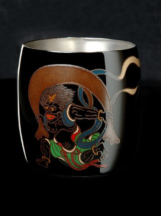 Titanium Japanese Lacquer Cup by Rhus  (God of the Wind) featured on Jzool.com