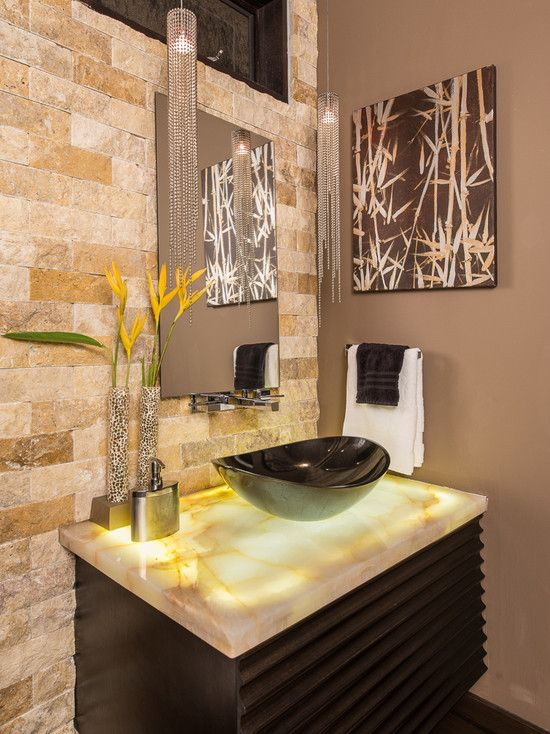 Unique Onyx Bathroom Vanity Tops for Gorgeous Projects : Impressive Hanging  Lamp Near Simple Mirror Above
