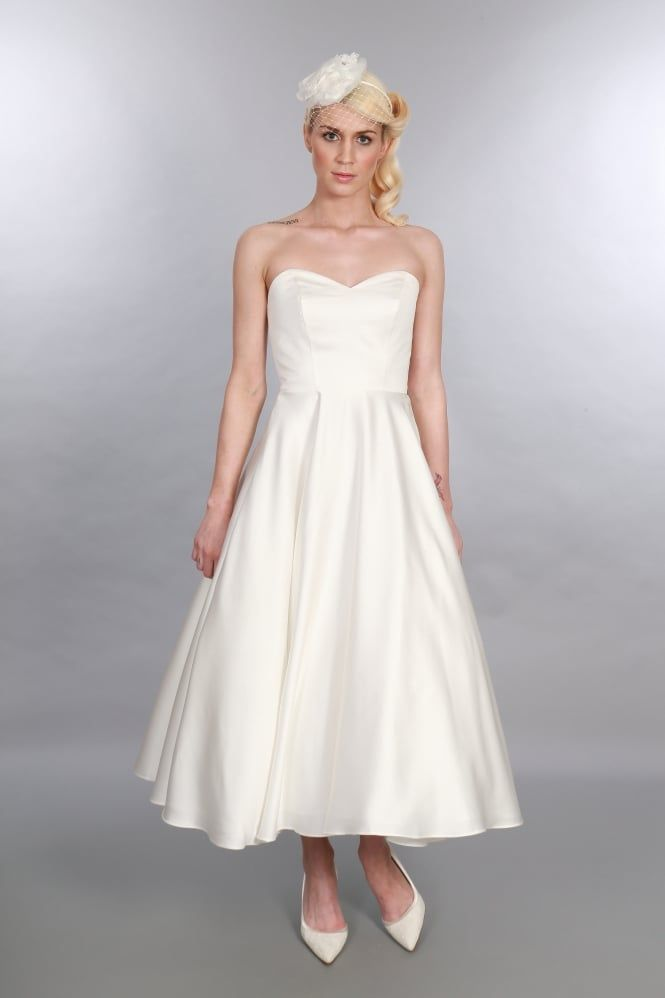 Timeless Chic Edith Simple Classic Elegant Tea Calf Ankle Length Satin Vintage Short Wedding Dress Available At Cutting Edge Brides