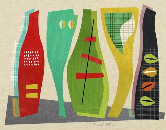 the vessels - LARGE mid century design art print